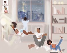 Kind of Sunday night in Paris Quality family Time Shared by Career Path Design Black Couple Art, Black Love Art, Black Girl Art, Black Girls, African American Art, African Art, Illustrations, Illustration Art, Natural Hair Art