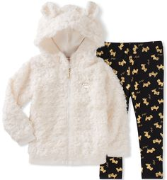 Juicy Couture Toddler Girls' Fur Jacket Pant Sets, Egret/Black Pool/Gold, 4T. Hoody. Leggings.