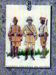 Guardia Colonial de Guinea. Indígena y Oficial en uniforme de Parada. Indígena en uniforme de servicio