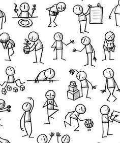 Poster: Lots of Little People - Skizzieren Doodle Drawings, Cartoon Drawings, Doodle Art, Easy Drawings, Easy Drawing Tutorial, Visual Note Taking, Doodle People, Stick Figure Drawing, Sketch Notes