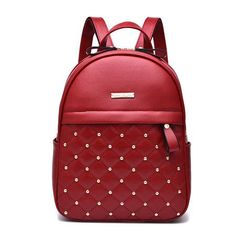 4a80f1e52e61 Annmouler Famous Brand Women Backpack Pu Leather Backpacks Vintage School  Shoulder Bag Rivet Bagpack for School Students. Leather Backpacks For  GirlsGirl ...