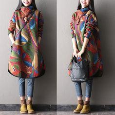 Winter thick cotton dress - Tkdress  - 1