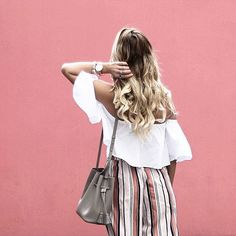 A white off-the-shoulder top, beachy curls and pastel striped culottes is the ultimate summer look #AsSeenOnMe