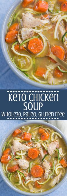 Keto Chicken Soup is a delicious, Whole30, paleo meal. Easily made in the instant pot or slow cooker - it's a cozy, flavor packed dinner everyone will love! #paleo #whole30 #keto #lowcarb #crockpot #instantpot Paleo Soup, Healthy Soup Recipes, Keto Recipes, Paleo Crockpot Recipes, Paleo Crockpot Chicken, Keto Foods, Keto Meal, Paleo Diet, Low Carb Chicken Soup