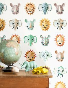Studio Ditte Wild Animals Wallpaper in Australia. Crisp images of elephants, lions, rinos & other colourful Wild Animals Material Non woven wallpaper, water cleanable Dimensions 2 drops of 3 m long x cm wide The pattern repeats after 3 m Look Wallpaper, Tier Wallpaper, Wild Animal Wallpaper, Elephant Images, Happy Animals, Wild Animals, Boutique Deco, Wallpaper Online, Animal Heads