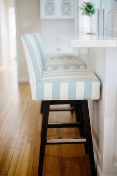aqua and white striped barstools | Rita Chan Interiors