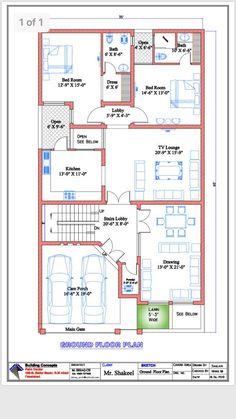 10 Marla House Plan, 2bhk House Plan, Free House Plans, Simple House Plans, Model House Plan, Duplex House Plans, House Layout Plans, Family House Plans, 40x60 House Plans