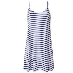 Sexy Women Stripe Strap Sleeveless Beach Party Evening Mini Dress ($12) ❤ liked on Polyvore featuring dresses, sexy evening dresses, long-sleeve mini dress, short cocktail dresses, short evening dresses and knee length cocktail dresses