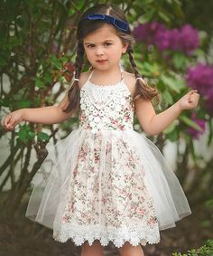 Love this Ivory Floral Lace Della Dress - Toddler & Girls on #zulily! #zulilyfinds