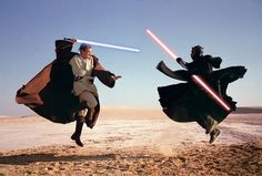 Ewan McGregor, as the young Obi-Wan, in a lightsaber battle with a pre-Vader, dark-side Jedi called Darth Maul, played by martial-arts expert Ray Park, February 1999.Photograph by Annie Leibovitz