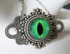 Glass Eye Choker Necklace Hand Painted Green by JasGlassArt, $28.00