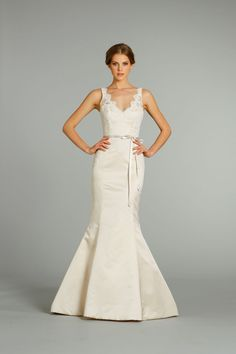 Style   Bridal Gowns, Wedding Dresses   by Alvina Valenta (Shown  Candlelight Silk Faced Duchess soft Fluted gown with V-neck front   back. fae2a28591e0