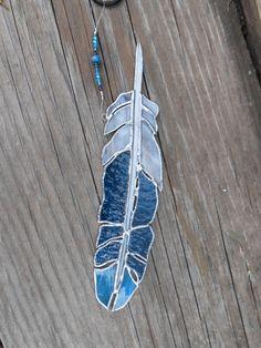 Stained Glass Feather  Suncatcher  Handmade  by DesertGirlGlass