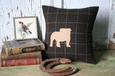 Bulldog Pillow Cover  Silhouette Recycled Brown by SmokinTweed