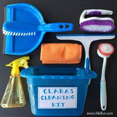 DIY Cleaning Kit for Kids - made with dollar store items. My kids would love this!