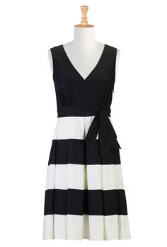 Stunning color block stripe poplin dress in Missy, @Plus, Petite, Tall, 1X-6X at eShakti.com. I cater to finding clothing for fuller figure, @fuller bust; this dress would just rock your figure;-) @curvy @voluptuous