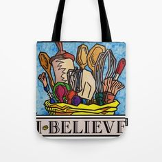 """""""I Believe in Baking"""" by Vernon Fourie \ tote bags baking utensils roller brushes wooden spoons measuring tools wisk passion food Baking Utensils, Wooden Spoons, Vernon, Brushes, Reusable Tote Bags, Passion, Tools, Stuff To Buy, Products"""