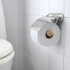 VOXNAN Toilet roll holder IKEA No visible screws, as the hardware is concealed. The chrome finish is durable and resistant to corrosion.