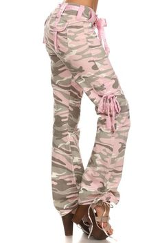 KELLI CAMO-OPPS PANTS WITH CARGO POCKETS & BELT