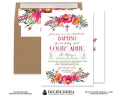 FLORAL BAPTISM INVITATION Boho Watercolor Rustic Girl Christening Fuchsia Flower Foliage Floral Free Priority Shipping or DiY - Colby