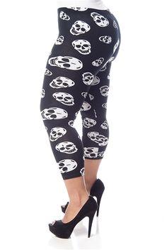 Gothy Grin Plus Size Skull Print Leggings - Black