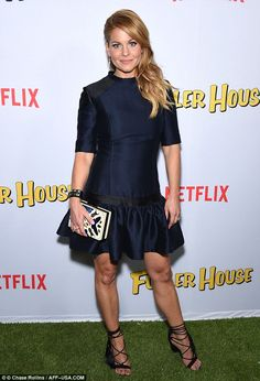 Beauty in blue: Candace Cameron Bure looked glam as she arrived at the Fuller House premiere in Los Angeles on Tuesday