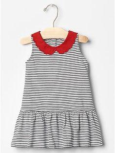 Contrast-collar stripe dress