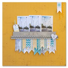Love the row of photos and hanging flags