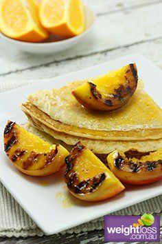 Healthy Breakfast Recipes: Pancakes with Grilled Nectarines. #HealthyRecipes #DietRecipes #WeightLoss #WeightlossRecipes weightloss.com.au
