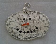 "Painted mesh screen Winter snowman ornament approx 5"" x 3.5"""