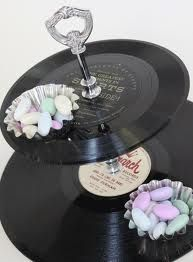 old records for a black and white party centerpiece.