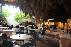 """Cave Cafe Okinawa. Several hundred thousand years ago the Valley of Gangala was made by a cave that collapsed in Nanjo, Okinawa. In the entrance there is a café that is open to the public called """"Cave Café"""". 202 Maekawa Tamagusuku, Nanjo-shi, Okinawa, 901-0616 Hours: 10:00am-6:00pm (Last Order 5:30pm) Open Year-round/50 Seats/Parking Available. the walking tour of the Valley of Gangala (reservation needed) is also popular."""