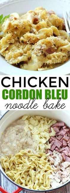 This Chicken Cordon Bleu Noodle Bake makes an easy comforting dinner any day of the week. Its a delicious one-pot meal the whole family will love! The post Chicken Cordon Bleu Noodle Bake appeared first on Tasty Recipes. One Dish Meals Tasty Recipes Easy Dinner Recipes, Easy Meals, Easy Recipes, Cheap Easy Dinners, Kid Meals, Kraft Recipes, Bo Bun, Korma, Pasta Dishes