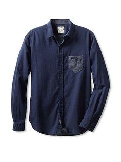 Navy Shirt w/White Polka Dots adn Pocket Detail
