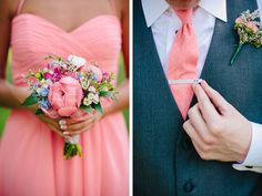 Coral is so perfect for summer weddings, and I love the hand stamped tie clips they used.  Gorgeous flowers from Crystal Orchid in Roanoke.  via Natalie Gibbs Photography