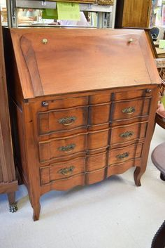 Hancrafted Solid Rosewood Secretary Desk Drop Front Reveals 4 Drawers
