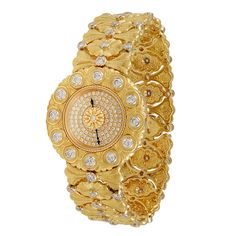 Buccellati Lady's Yellow Gold and Diamond Wristwatch