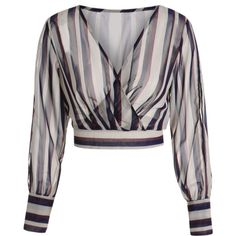 Striped Slit Sleeve Cropped Surplice Blouse Stripe featuring polyvore, women's fashion, clothing, tops, blouses, stripe blouse, striped crop top, striped blouse, slit sleeve top and surplice blouse