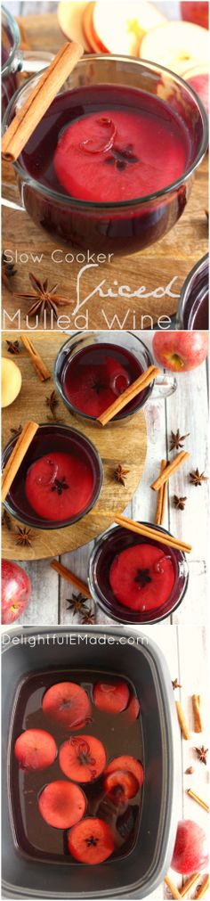 Spiced Mulled Wine : The most amazing fall and holiday drink! Made in a slow cooker, this delicious mulled wine is wonderfully aromatic and perfect anytime you want to warm up with a hot beverage. Cheers!!