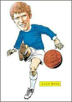 Alan Ball of Everton in cartoon mode.