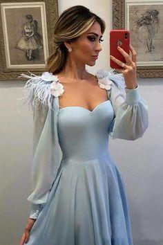 d337d3533fe Hellblau Lange Ärmel Herz-Ausschinitt Chiffon A-Linie Ballkleid Abendkleid  OP0876
