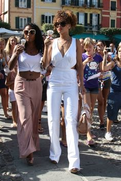 Look for Less: Rihanna's Portofino Italy Yves Saint Laurent White Backless Jumpsuit - The Fashion Bomb Blog : Celebrity Fashion, Fashion New...