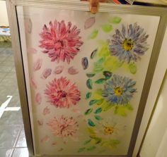 Flowers on a glass. Painted with multi-color paints on a glass. If you are interested in window art, please visit my website. Color Paints, Paint Colors, Window Art, Shower, Website, Glass, Prints, Painting, Paint Colours