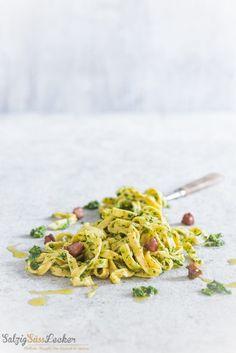 Senf-Nudeln mit Grünkohl-Pesto