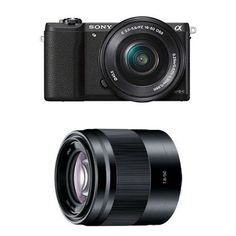 $746.00 Sony Alpha a5100 Interchangeable Lens Camera with 16-50mm and 50mm Lenses (Black)