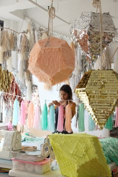 So cool! Confetti System is 2 friends- Julie Ho + Nicholas Andersen who make their living creating festive & kaleidoscopic pinatas!