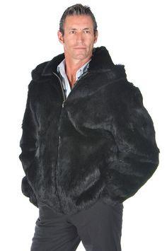 Real Rabbit Fur Jacket Men Zippered Bomber Jacket with Detachable Hood Black Mens Winter Fashion Jackets, Black Men Winter Fashion, Tall Men Fashion, Winter Fashion Boots, Winter Fashion Outfits, Outfit Winter, Top Clothing Brands, Mens Fur, Vest Men