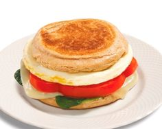 Herb Goat Cheese, Spinach and Red Pepper Egg Muffin, cooked in breakfast sandwich maker