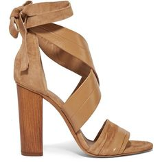 Vince Beatrice leather and suede lace-up sandals (2.543.800 IDR) ❤ liked on Polyvore featuring shoes, sandals, tan, high heeled footwear, tie sandals, block heel sandals, tan leather sandals and lace up high heel sandals