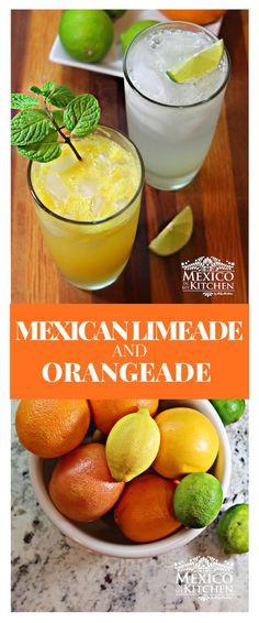 Sparkling Mexican Limeade and Orangeade -Limonada y Naranjada Preparada - Besides the simple or natural varieties of limeade or orangeade, La m - Authentic Mexican Recipes, Mexican Food Recipes, Vegan Recipes, Cooking Recipes, Refreshing Drinks, Yummy Drinks, Healthy Drinks, Mix Drinks, Orangeade Recipe